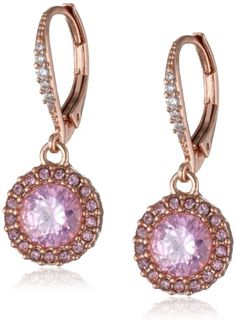 """Betsey Johnson """"Rose Gold Boost"""" Small Round Crystal Drop Earrings Betsey Johnson, EARRINGS AND THINGS if you wish to buy just CLICK AMAZON right HERE http://www.amazon.com/dp/B00D983A0M/ref=cm_sw_r_pi_dp_JnTKsb10FK45JE8Y"""