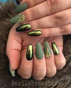 khaki green and holographic nails
