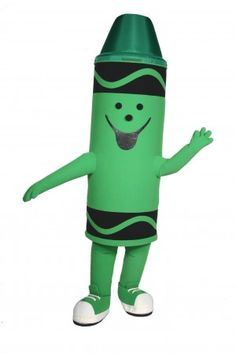 Green-Crayola-Tip Custom Mascot Costume available for promotional events for Crayola products and promotional events approved by Crayola Inc. Red And Teal, Teal Orange, Blue Green, Yellow, Crayon Costume, Promotional Events, Character Costumes, Mascot Costumes, Dinosaur Stuffed Animal