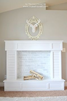 Mimis faux mantle with bookshelves do it yourself home projects make a faux fireplace with hearthat looks absolutely real solutioingenieria Gallery