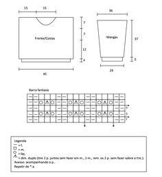 Tricô + Crochê: Cropped de tricô com manga longa - Gráfico, receita e passo a passo