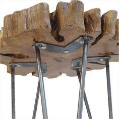 Yonca Kütük Sehpa- Demir Ayaklı Doğal ahşap kalın kütük sehpa, yaklaşık 60cm,