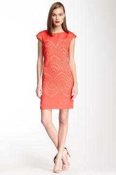 laser cut dress in coral