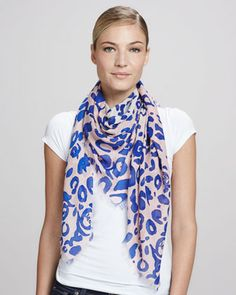 Animal-Print Square Scarf, Cobalt/Pink by McQ Alexander McQueen at Neiman Marcus.