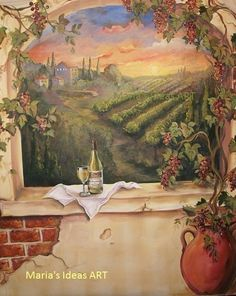 Custom Murals, Italian Vineyard landscape MURAL, wine mural on walls or canvas