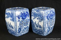 Photo of Pair Chinese Nanking Porcelain Garden Seats Blue White Pottery