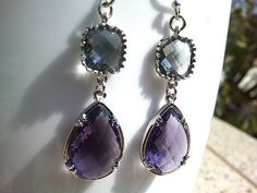 Purple with Gray Silver Drop Earrings