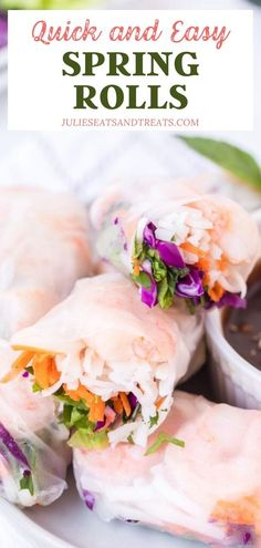 You don't need a takeout menu to get a fresh batch of easy Spring Rolls! Learn how to assemble this fun appetizer that combines colorful ingredients into a delicious filling. Serve with a homemade Thai peanut sauce for a quick and healthy dinner! Pin this for later! Easy Clean Eating Recipes, Clean Eating For Beginners, Healthy Dinner Recipes, Snack Recipes, Snacks, Easy Spring Rolls, Fresh Spring Rolls, Homemade Crackers, Homemade Food