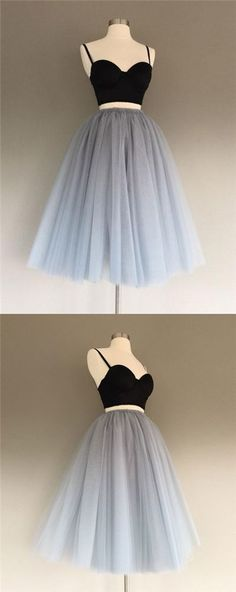 Two Pieces Homecoming Dress Black and Silver Short Prom Dress Party Dress