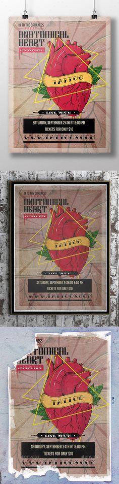 Heart Tattoo Flyer Template  — PSD Template #festival #anatomical heart •…