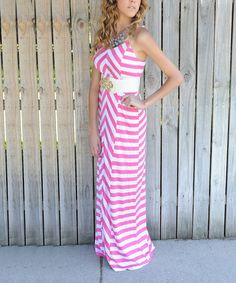 Look at this Pink & White Zigzag Hannah's Maxi Dress on #zulily today!