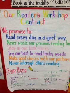 Our Readers Workshop Contract (anchor chart.)  This site also has lots of sample anchor charts for reading and writing