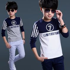 $17.99 (Buy here: http://appdeal.ru/5vsd ) The new Design spring autumn 2016 boys long-sleeved T-shirt children Letter Number big boy T-shirt factory direct sale for just $17.99