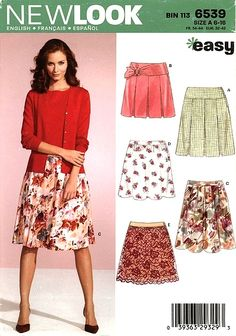 New Look Pattern - Skirts Misses' Skirts. Copyright Size: Pattern is uncut and in the factory folds. New Look Patterns, Life Design, Blue Plaid, Vintage Sewing Patterns, Thrifting, Easy, Midi Skirt, Pretty, Skirts