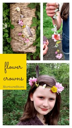 How to make flower crowns forest school activity :: nature walk craft, beltane craft :: spring craft with flowers
