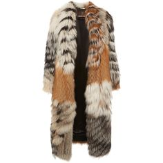 Roberto Cavalli     Midi Length Fur Coat (34.465 BRL) ❤ liked on Polyvore featuring outerwear, coats, jackets, fur, multi, roberto cavalli, calf length coat, brown fur coat, oversized coat and oversized fur coat