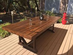 diy large outdoor dining table seats 10 12 diy outdoor furniture outdoor living woodworking projects - Patio Table - Ideas of Patio Table Table Dexterieur, Dining Table With Bench, Patio Dining, Diy Table, Patio Tables, Farm Tables, Wood Tables, Side Tables, 12 Person Dining Table