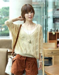 Cute Deep V-neck Dolman Sleeve Short Sleeve Sweater on BuyTrends.com, only price $24.00