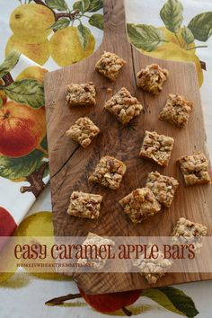Easy Caramel Apple Bars - using oatmeal cookie mix, apples and salted caramel topping Cookie Desserts, Just Desserts, Delicious Desserts, Dessert Recipes, Yummy Food, Apple Recipes, Fall Recipes, Sweet Recipes, Top Recipes