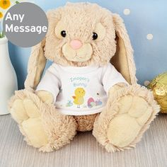 Easter gift that can be personalised with childs name easter personalised easter meadow bunny soft toy personalise the t shirt with any message over negle Image collections