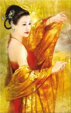 Chinese Beauty by Der Jen (Dezhen) Art Asiatique, Fantasy Art Women, Portraits, Mellow Yellow, Woman Painting, Belle Photo, Japanese Art, All Art, Female Art