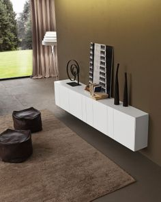 Lacquered suspended sideboard with doors InclinART Collection by Presotto Industrie Mobili Sideboard Modern, Credenza, Side Board, Treatment Rooms, Komodo, Italian Furniture, Console Table, Designer, Furniture Design
