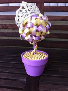 Rapunzel Tangled Ribbon Topiary Centerpiece Decoration Birthday Shower Disney Wedding Princess