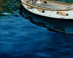 """Cobalt water and a hint of a blazing sunset, a wooden boat gently sways in the warm water of Vernazza harbour, Cinque Terre, Italy. This is a 12x12"""" square premium quality giclée art print from an original oil painting by UK artist Ellisa Hague.  Other pieces in this series are available, please visit www.EllisaHagueOriginal.com or visit the Etsy Shop to view them."""