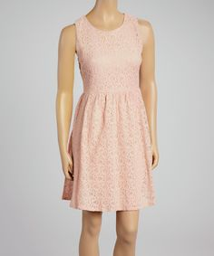 This Peach Textured Floral A-Line Dress by Life and Style Fashions is perfect! #zulilyfinds