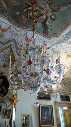 Venitian Murano chandelier at Palazzo Sorbello (Perugia)...look at the ceiling as well....gorgeous!