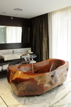 Wooden Bathtub Design Credit: unknown - Architecture and Home Decor - Bedroom - Bathroom - Kitchen And Living Room Interior Design Decorating Ideas - Wood Tub, Wood Bathtub, Wood Bathroom, Bathroom Ideas, Design Bathroom, Bath Design, Bathroom Interior, Bathroom Inspiration, Master Bathroom