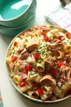 Rigatoni, Pasta Salad, Potato Salad, Salads, Food Porn, Potatoes, Ethnic Recipes, Salad With Tuna, Red Peppers