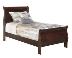 Alisdair 5 PC Bedroom Set: Twin Sleigh Bed 2 Nightstand Dresser Mirror - Ashley in Dark Brown Brown Furniture, Bedroom Furniture Sets, Bed Furniture, Bedroom Ideas, Headboard And Footboard, Headboards For Beds, Wood Headboard, Furniture Mall Of Kansas, Furniture Shopping