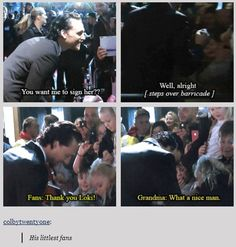 #TomHiddleston With his Little Hiddlestoners... Awww!!! Complete gif set: http://gofuckyourselftomhiddleston.tumblr.com/post/49470179792/colbytwentyone-his-littlest-fans