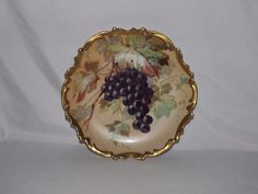 1891-1914 Antique Limoges Hand Painted Life Like Grape Cluster Charger By Albert #Limoges