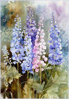 Yvonne Harry watercolor Delphinium