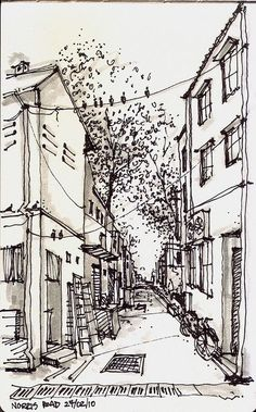 Norris Road @ Little India, Singapore by Paul Wang Tree Sketches, Drawing Sketches, Art Drawings, Road Drawing, City Drawing, Pen Sketch, Building Drawing, Building Sketch, Landscape Sketch