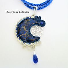 Soutache pendant blue moon. Original pendant of the soutache Jewelry collection. In a starry Silver Sky shines a blue moon, wears this dream pendant on Your special occasions. Boho chic pendant with handmade cabochon And Crystal chain