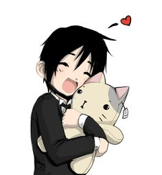 Black Butler ~~ Finally, Ciel found a cat he could tolerate in the mansion :: fanart [ Can I keep THIS one? by Daseven.deviantart.com on @deviantART ]