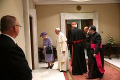 Queen Elizabeth II and Prince Philip, Duke of Edinburgh meet Pope Francis during their one-day visit to Rome, on April 3, 2014 in Vatican City, Vatican.