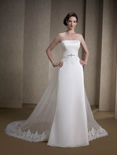 Gorgeous simple wedding dress with a detachable trains by Kenneth Winston Style PL1502