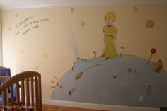 Little Prince Mural - Earth    YOU GUYS. I would love to live in this room.