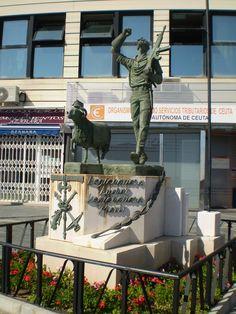 Estatua del Legionario y la Cabra (Ceuta) Outdoor Sculpture, Garden Sculpture, Housing Works, Iberian Peninsula, Spain Holidays, Medieval Castle, Prado, Spain Travel, Hiking Trails