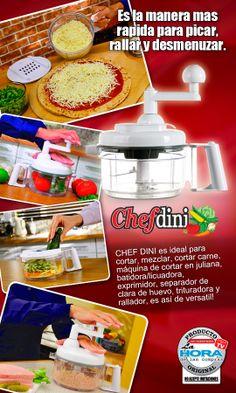 Chef Dini, es el nuevo robot de cocina totalmente equipado con más de 30 funciones; es un avanzado sistema que le permitirá cortar, picar, triturar, mezclar, moler, batir, rebanar y muchas cosas más, facilitando su trabajo al momento de preparar sus alimentos.  #cocina #hogar #lahoradelascompras #productosoriginales