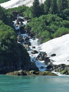 Alaskan Christian Cruise Pictures: Waterfall in Tracy Arm