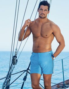 David Gandy models his 2016 swimwear collection from the Gandy For Autograph line for Marks and Spencer. David has incorporated new patterns and colors this season, expanding on the success of last collection David Gandy Style, David James Gandy, David Gandy Body, Swim Shorts, Guys Shorts, Gorgeous Men, Male Models, Hot Guys, Mens Fashion