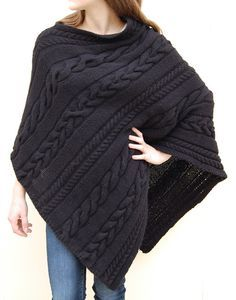 Knitting pattern Dianne Cabled Poncho Pattern easy cable poncho knitting pattern by jenniferwenger on Etsy (affiliate link)