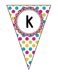 Pennant Banner {ALL Letters} Multi Colored. by Kendra Passarelli Printable Birthday Banner, Printable Banner Letters, Birthday Card Template, Happy Birthday Tag, Birthday Tags, Whimsical Fonts, Graduation Theme, Polka Dot Background, Flower Circle