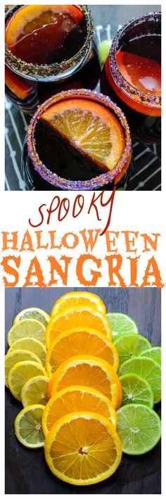 P Halloween Sangria. Perfect to make for any Halloween party! Halloween Cocktails, Halloween Desserts, Hallowen Food, Halloween Food For Party, Holiday Drinks, Holiday Treats, Fun Drinks, Halloween Treats, Yummy Drinks