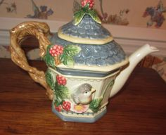 Mint Fitz and Floyd Essentials Collectible Ceramic Bird House Tea Pot | eBay